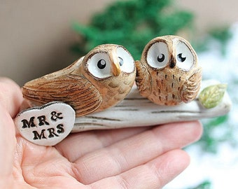 Clay Owls - Owl cake topper - Clay Owls - Wedding Clay Owls - Made To Order - Brown owls - Woodland Wedding cake topper -CUSTOMIZED for You