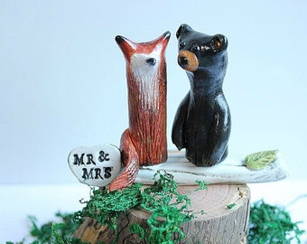 Wedding cake topper Fox and Bear  - Clay Fox and Bear  - Woodland Cake Topper - Rustic Wedding Cake Topper - MADE TO ORDER