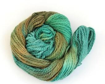 Chunky baby alpaca yarn, hand dyed bulky knitting crochet wool, Perran Yarns Deep Forest, emerald green brown, uk seller, yarn skein hank