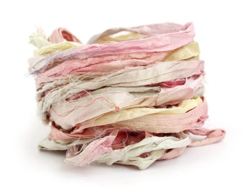 Recycled sari silk ribbon handdyed Unicorn Clouds, 10metre length, textile arts, mixed media, jewellery making, rose pink, lemon pale pastel