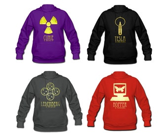 Womens Science Hoodie, Long Sleeve Sweatshirt, Rock Star Scientist Hooded Sweater Winter Clothing Tesla Einstein Darwin DNA S M L Xl Xxl