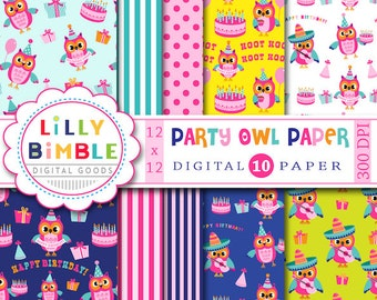 60% off Birthday Party Owl Digital Paper pack, commercial use included, cute owl,  fiesta, Instant Download, Lilly Bimble