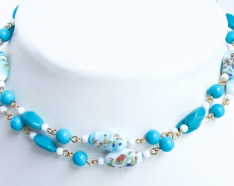 Long Flapper style Millefiori bead necklace. Japanese beads. Japan turquoise, milk glass beads