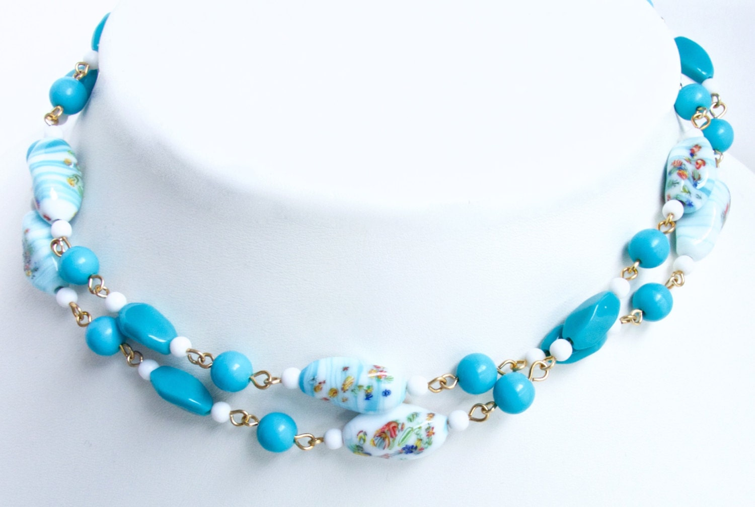 flapper style millefiori bead necklace japanese