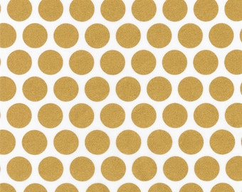 Robert Kaufman Spot On Geo Dot Blanc Gold Metallic Quilting Apparel Fabric BTY