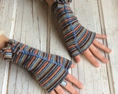 GLOVES/Repurposed Wool Scarf/Hand Embroidered/Colorful Stripes/Texting Gloves/Fingerless