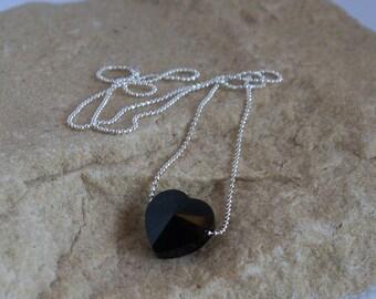 Dark Romance - Swarovski Crystal Black Heart On A Silver Plated Diamond Cut Ball Chain Necklace SRAJD