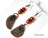 Rusty rustic boho earrings with beautiful orange metallic beads