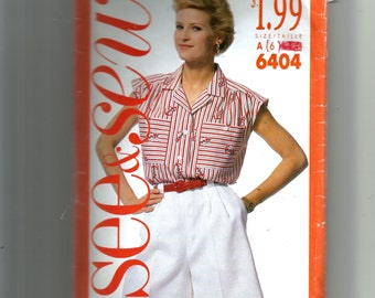 Butterick  Misses' Blouse and Shorts Pattern 6404