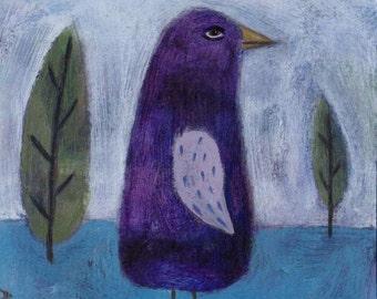 Bird Folk Art, Bird Painting, Original Painting, Outsider Art, Small Art, Naive Style, Bird Illustration, Purple Bird, Spiralforeststudio