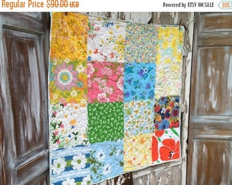 40% FLASH SALE- Upcycled Baby Quilt-  Flower Power Linens Collection