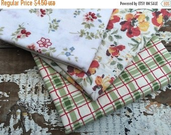 30% OFF SUPER SALE- Fat Quarter Bundle- Fabric -Reclaimed Bed Linen fabric-Autumn