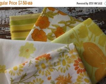 40% OFF FLASH SALE- Fat Quarter Bundle-Reclaimed Bed Linens -Vintage Bed Linens-Citrus