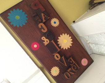 1970 Letterpress Letter PEACE & LOVE Handmade Wall Hanging / Artwork / Plaque / Retro Groovy