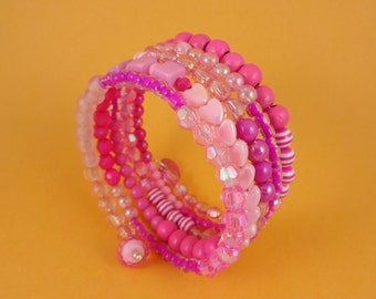 Pink Memory Wire Bracelet - Stacked Coil, Wrap Around Bangle, Mixed Beads, Shades of Pink, girly cute kawaii, Sweet Lolita, pastel candy fun