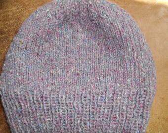 Hand knit natural wool Ballybrae Tweed watch cap hat knitted lilac cranberry men women unisex beanie