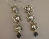 My Stars -  Antique Victorian Cut Steel Stars Swarovski Crystals Niobium Wires Recycled Repurposed Earrings
