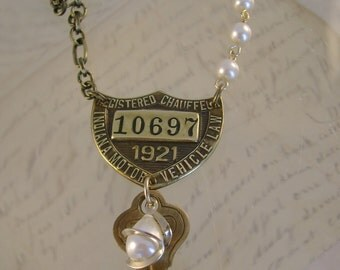 Designated Driver - 1921 Antique Indiana Chauffeur Badge Key Pearl Recycled Assemblage Necklace
