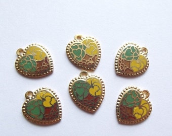 ON SALE Vintage brass enamel heart charms