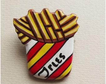 On Sale Vintage handpainted bag of fries brooch