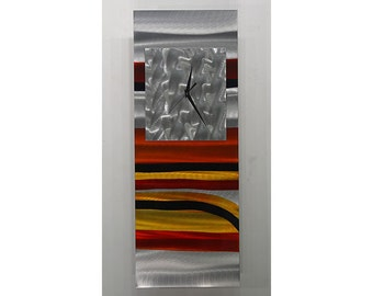 Silver, Red, Black & Yellow Contemporary Metal Wall Clock - Functional Home Decor Accent - Metal Wall Art - CLK 335 by Jon Allen