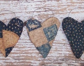 3 Rustic Hearts Handmade Antique Quilt Ornaments American Made Country Farmhouse Decor Primitive Tattered Hearts, Blue White - READY TO SHIP