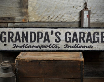Grandpa's Garage Wood Sign, Personalized Shop Location City State Name Man Cave Decor - Rustic Hand Made Vintage Wooden Sign ENS1001530