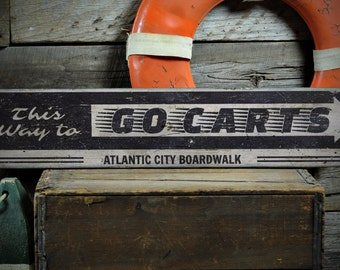 Go Carts Wood Sign, This Way Arrow Boardwalk Sign, Custom Beach Boardwalk Location Decor - Rustic Hand Made Vintage Wooden Sign ENS1001350