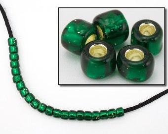3/0 Silver Lined Dark Green Seed Bead (40 Grams) #JCE002