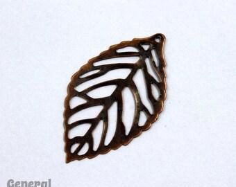 20mm x 30mm Antique Copper Filigree Leaf Dangle #FIA080