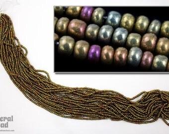 11/0 Metallic Gold Iris Czech Seed Bead (Hank) #CSG028