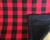 Black and Red Buffalo plaid minky backed quilted baby blanket