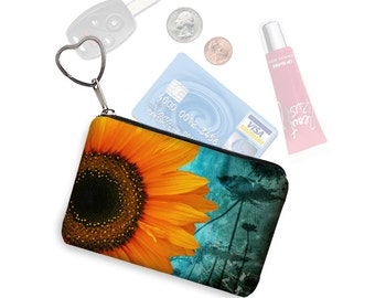 Small Zipper Pouch Coin Purse Keychain Key Fob Rustic Wedding Gift Business Card Holder  Sunflower Floral blue yellow black   RTS