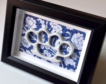 ETSYVERSARY SALE Framed China Knuckles - White Porcelain on Blue