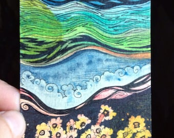 "Original ATC/ACEO  -110- ""conglomerate landscape"" - abstract watercolor and ink environment"