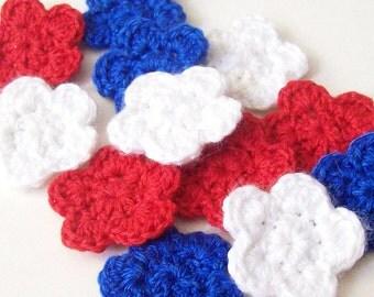Mini Crochet Flower Appliques, Red White Blue Flowers, Flower Embellishment, Scrapbooking, Set of 12, Miniature Flower, Crochet Flower Motif