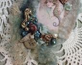 Sea themed felted brooch