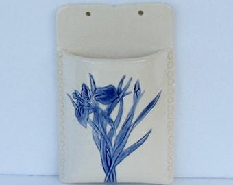 Ceramic Wall Pocket/Wall Vase, Iris, Wall Hanger, Plant Holder