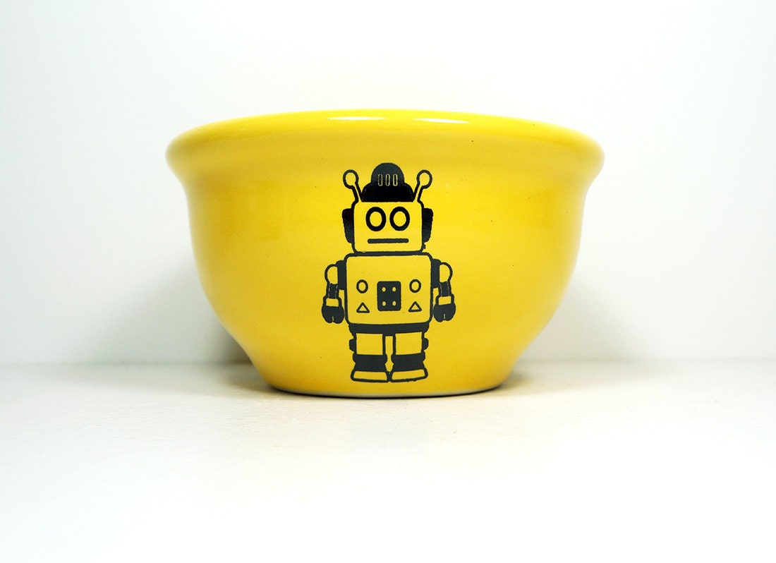 small bowl with Robot print, shown on Lemon Butter glaze -  Made to Order / Pick Your Colour