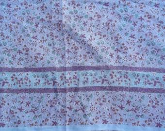 Vintage Plum Purple Floral Slub Linen  60 inches wide x 1 yd. 13 inches Light Wgt.