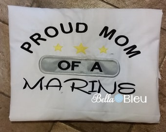 Custom Embroidered Armed Forces Marine Mom tee shirt Sml to Xl