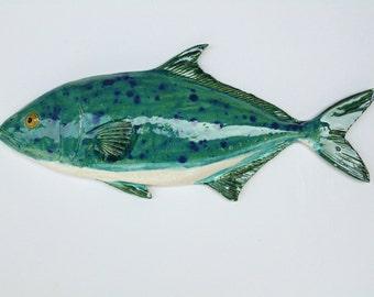 Kona Kampachi Ceramic fish art wall hanging