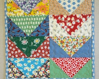 Quilted Table Runner - Flying Geese Pattern - Feed Sack and Novelty Prints