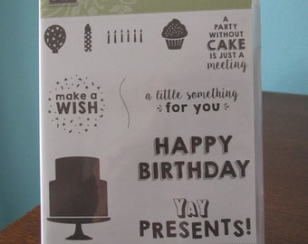 Used Like New! Party Wishes Stampin' Up! retired rubber stamp set (11)