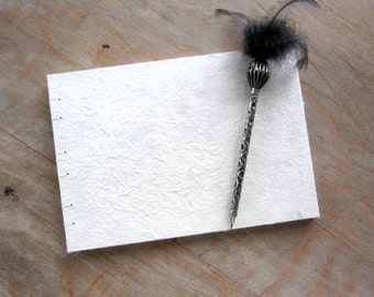Wedding Guest Book, 7x10 Textured White, unlined TORN pages, Ready to Ship