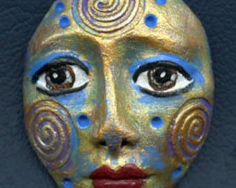 Polymer Clay One of a Kind  Spirit Doll Abstract Textured  Face Cab   Un Drilled TRI 7