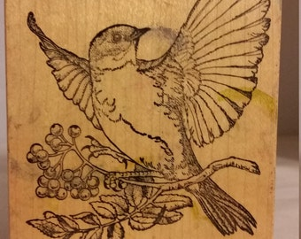 Huge Bluebird Wood Block Rubber Stamp