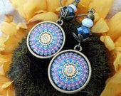 Purple Mandala leverback earrings - bronze *Free Shipping*