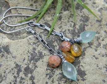 gemstone cluster earrings - rustic, oxidized silver - chalcedony, sunstone, yellow aquamarine