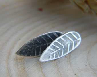 handmade stamped leaf post earrings - sterling silver - rustic - nature lover